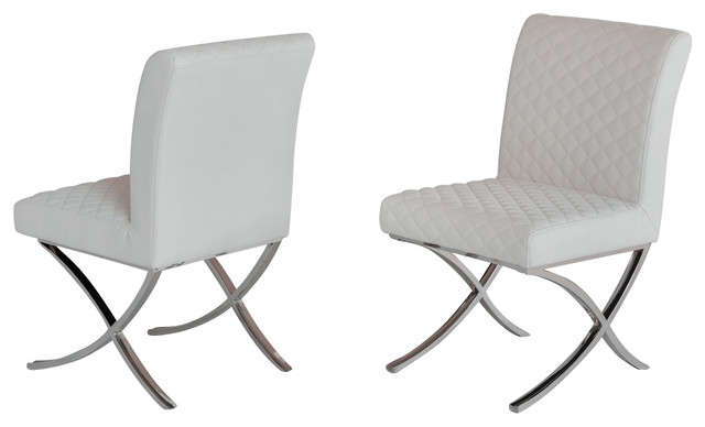 Modrest Adderley Modern Leatherette Dining Chairs, Set Of 2, White  Contemporary Dining