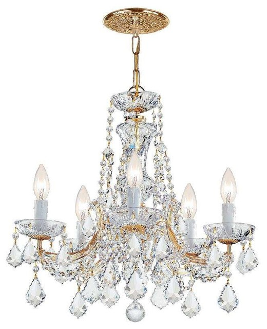 Crystorama Lighting 4476-GD-CL-MWP Maria Theresa Traditional Chandelier, Gold