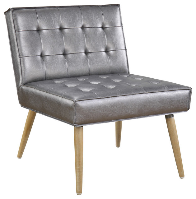 Amity Tuffed Accent Chair In Fabric With Chrome Legs