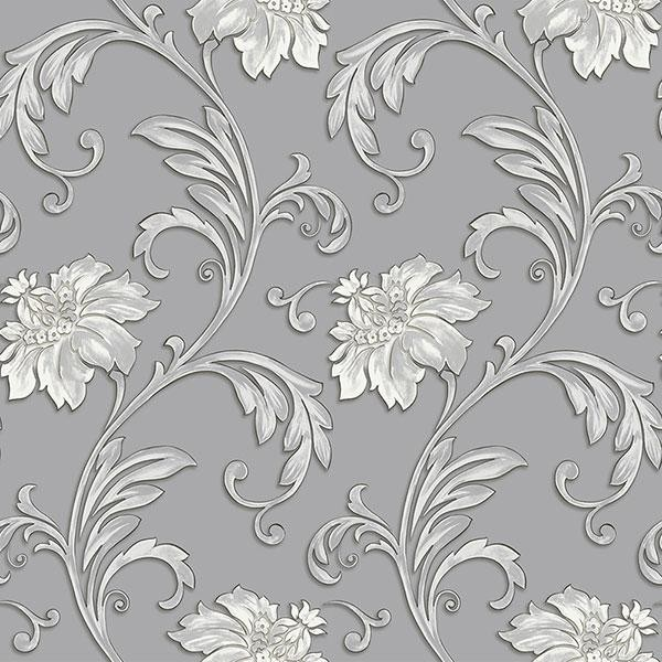 Floral Scroll Gray Metallic Silver Jc20064 Traditional