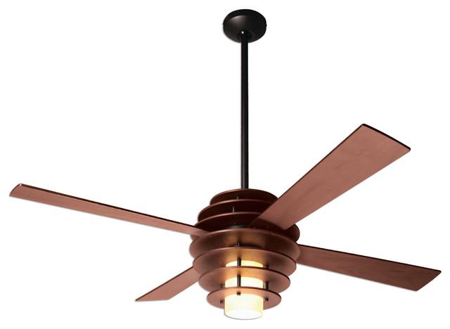 Modern Fan Stella Led-Light Mahogany/dark Bronze 52 Ceiling Fan, Wall Control.