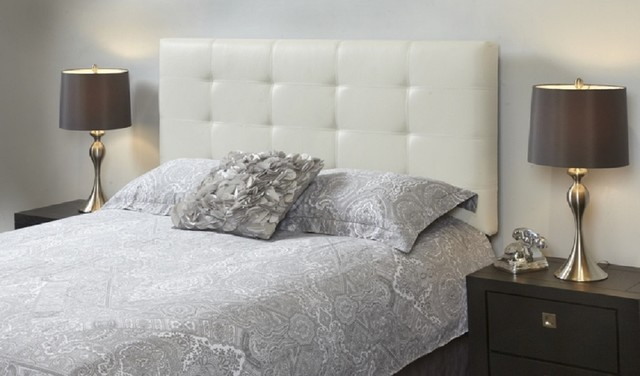 Milton White Leather Tufted Queen Bed Frame