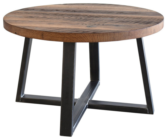 Reclaimed Wood Industrial Round Coffee Table: Round Industrial Reclaimed Wood Coffee Table