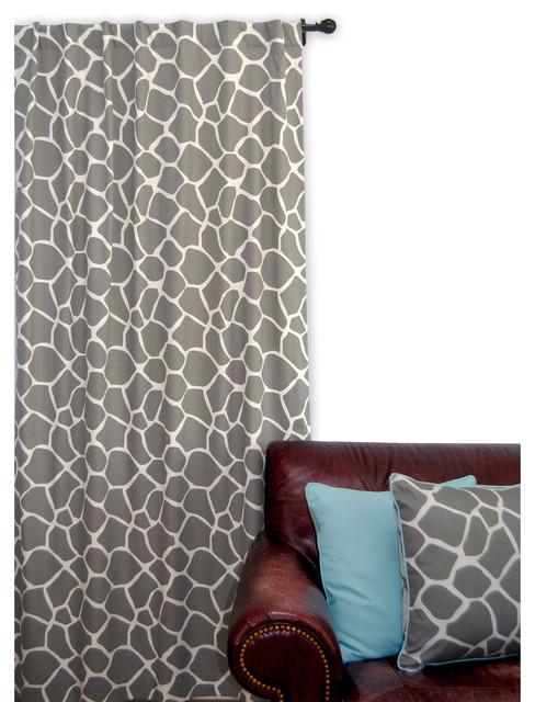 Ez Living Home Giraffe Window Panel 84l Grey On Cream.