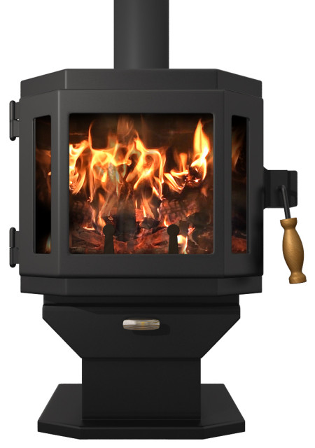Catalyst Wood Stove Satin Black With Room Blower Fan Modern Freestanding Stoves By Mf Fire Inc