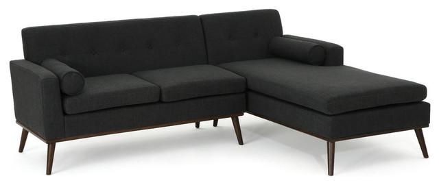 GDF Studio 2-Piece Sophia Mid Century Modern Fabric Sectional Sofa ...