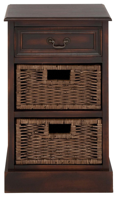 Urban Designs 3 Drawer Wooden Storage Chest Night Stand With Wicker Baskets Tropical Nightstands And Bedside Tables By Casa Cortes