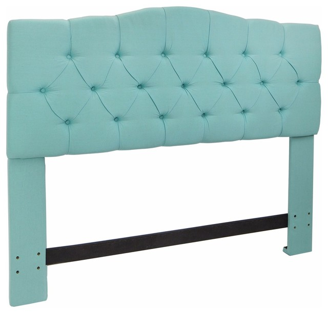Full/queen Bed Headboard Modern Tufted Fabric, Sea Mist.