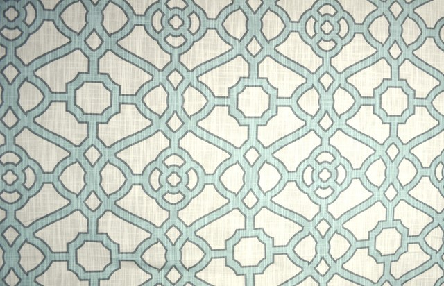 Trellis Fabric pavilion fretwork tropical blue trellis fabric - traditional