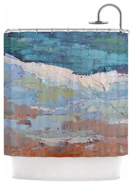 Kess Inhouse Carol Schiff On The Beach Coral Blue Shower Curtain Reviews Houzz