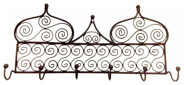 Moroccan Arabic Design Black Wrought Iron Wall Hanger Hanging Coat ... - wrought iron wall designs