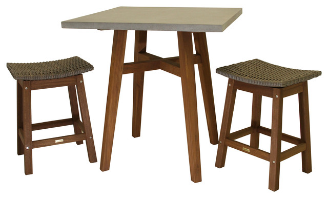 Awesome 3 Piece Counter Height Composite Table With Driftwood Gray Wicker Saddle Stools Beatyapartments Chair Design Images Beatyapartmentscom