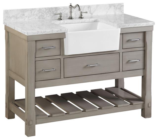 """Charlotte Bathroom Vanity, Weathered Gray, 48"""", Carrara Marble Top, Single Sink"""