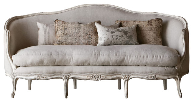 Louis xv seraphine canape sofa in gesso and fog linen for Louis xv canape sofa