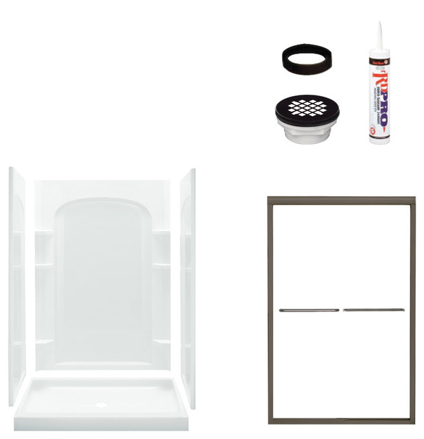 Sterling Ensemble 75x34x48 Alcove Shower Kit Clear Gl Bronze