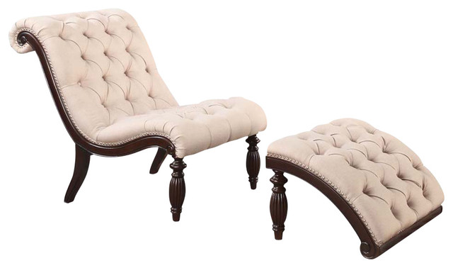 Upholstered Chair And Ottoman upholstered tufted accent lounge chair ottoman set with queen anne