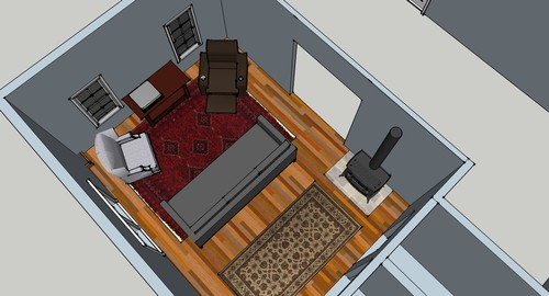 Help with living room furniture layout and wood stove placement