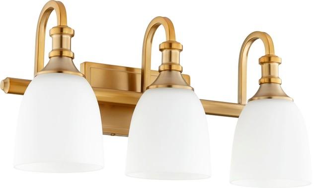 Quorum Richmond 3-Light Vanity, Aged Brass