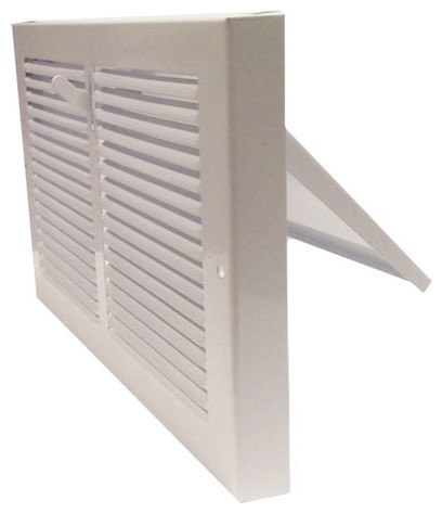 """White Baseboard Register With Plate Damper, 10""""x6""""."""