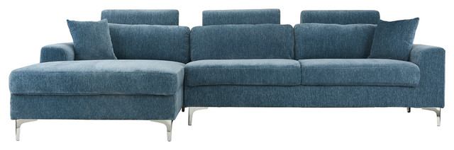 Large Modern Velvet Sectional Sofa With Extra Wide Chaise Lounge Blue