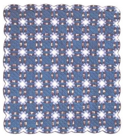 Double Wedding Ring Quilt.Blue Double Wedding Ring Quilt Queen