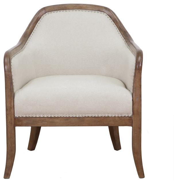 Farmhouse Style Beige Accent Chair.