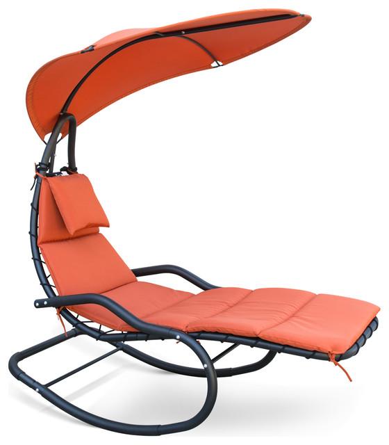 Uv Sun Canopy Hanging Rocking Chair Orange.