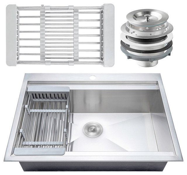 """30""""x22""""x9"""" Stainless Steel Top Mount Kitchen Sink Single Basin With Tray Kit."""