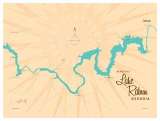 Lakebound Lake Rabun Georgia Map Art Print - Contemporary - Fine Art Prints - by Art of Place