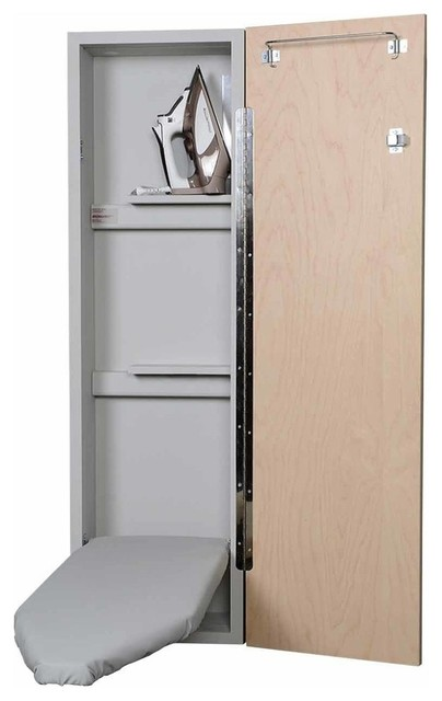 Deluxe Non-Electric Ironing Center, Flat White Door.