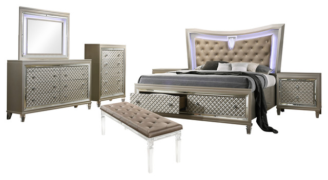 Lunna 7-Piece Bedroom Set With Beige Faux Leather Headboard LED Lights, King