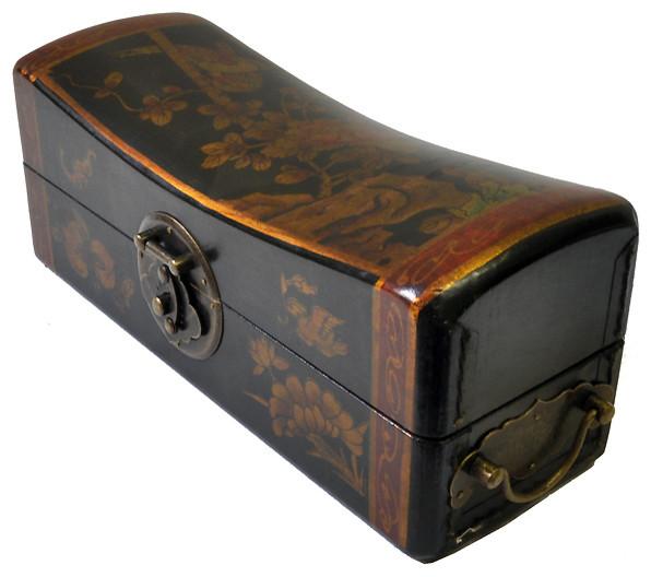 Shop Houzz T Trove Asian Decor Leather Pillow Box Black