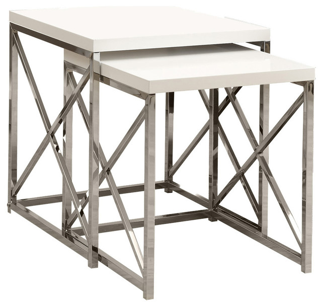Monarch Specialties 2 Piece Nesting Table Set Contemporary Side Tables And