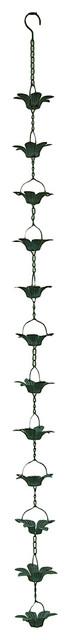 Verdigris Finish Metal Lily Flower Rain Chain w/Attached Hanger 48 Inch