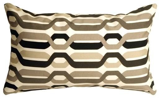 Pillow Decor - Waverly New Twist Caviar 12 x 20 Outdoor Pillow