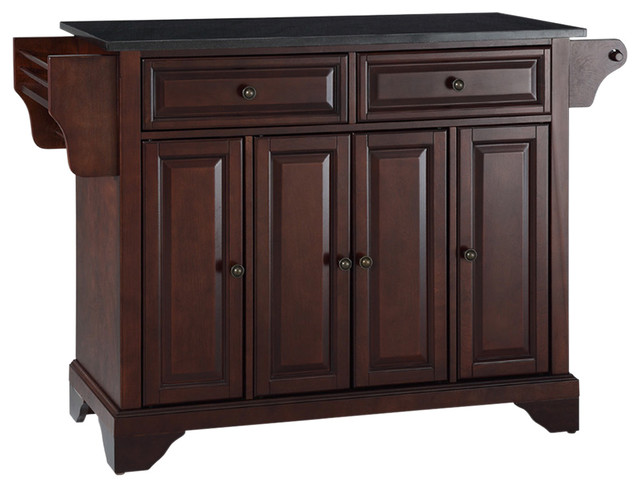 Lafayette Solid Black Granite Top Kitchen Island, Vintage Mahogany Finish.