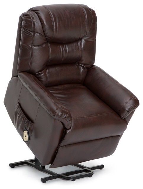 Seatcraft Valentino Power Lift Leather Gel Chair With Extended Recline Brown by Seatcraft