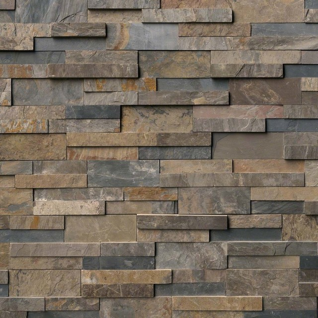 "Rustic Gold Slate Stacked Stone Splitface Panels, 6""x24"" Panel, 100 Sq. Ft.."