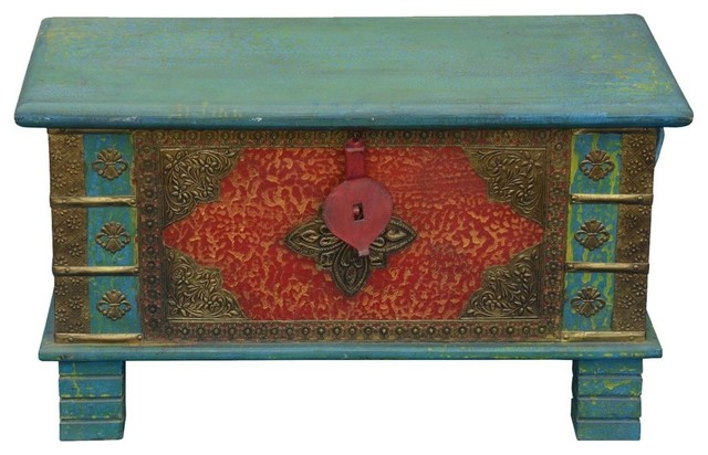 Flaming Flower Reclaimed Wood Brass Inlay Coffee Table Trunk