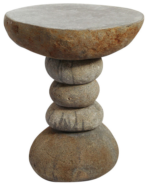 Superior Stacked River Rock Side Table