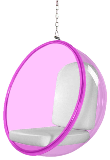 Fine Mod Imports Bubble Hanging Chair Pink Acrylic, White by Fine Mod Imports