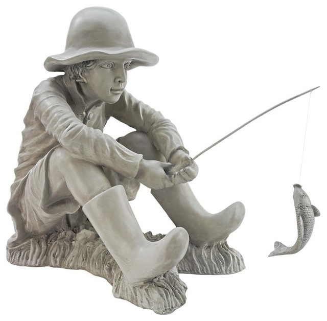 Gone Fishing Fisherman Statue Rustic Garden Statues And Yard Art By Design Toscano