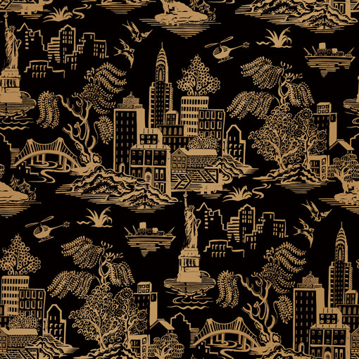 Markus NYC Toile Black Gold Removable Wallpaper designed by Genevieve Gorder - Contemporary - Wallpaper - by Kathy Kuo Home