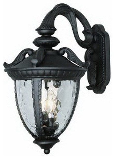 Black Exterior Wall Light Fixture With Clear Water Glass