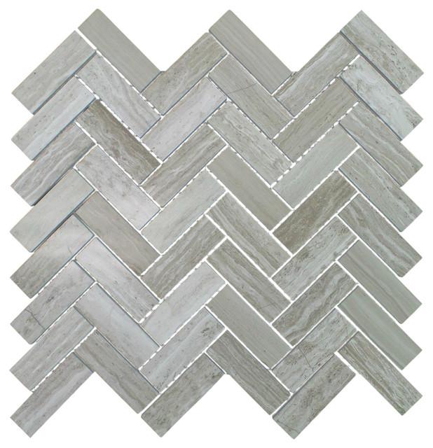"Polished Marble Herringbone Mosaic Tile, 12""x13"", Travertine Gray, 5 Sheets"