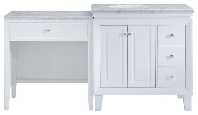 "Silkroad Exclusive 67.5"" Transitional Bathroom Vanity Carrara Marble Top - Transitional ..."