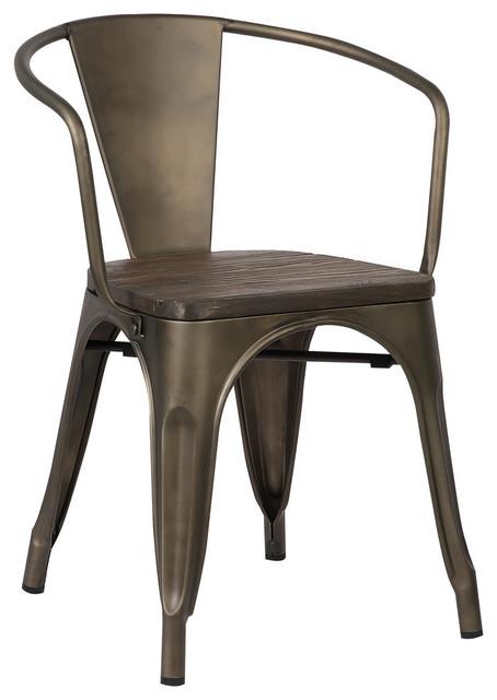 Trattoria Arm Chair, White, Set of 2, Elmwood / Bronze by Edgemod Furniture