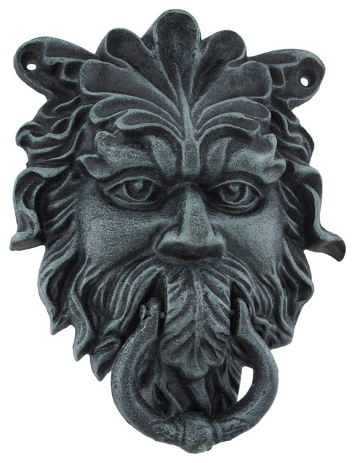 Verdigris Finish Cast Iron Celtic Greenman Door Knocker