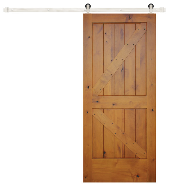 Prefinished Interior Knotty Alder K Panel V-Groove Barn Door Stainless farmhouse-interior  sc 1 st  Houzz & Prefinished Interior Knotty Alder K Panel V-Groove Barn Door ... pezcame.com