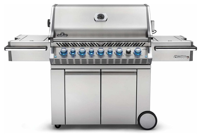 Prestige Pro 665 Grill On Cart With Ir Rotisserie, Side Burner, Natural Gas.